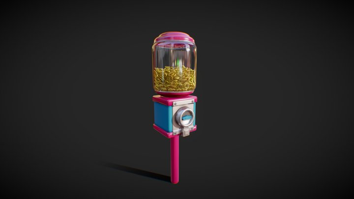 gum automat with rings 3D Model