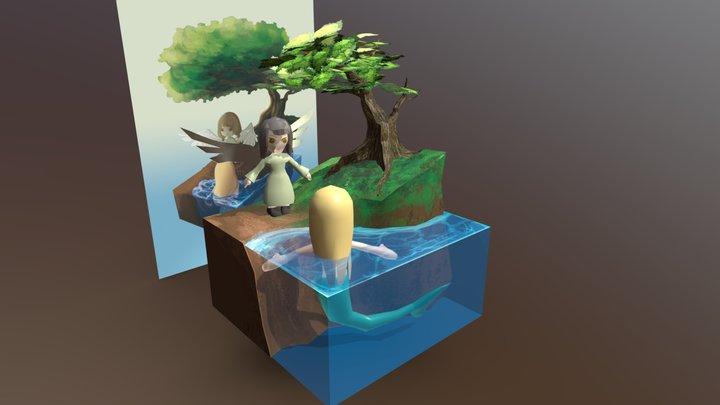 1071448009 楊雅婷 天使與人魚相遇 3D Model