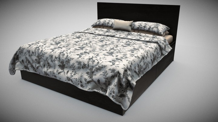 Furniture Bed and Accessories 3D Model