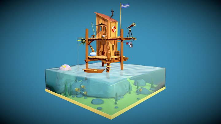 stylized sea shack 3D Model