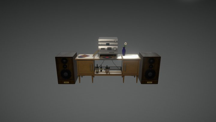Sideboard with HiFi - equipment 3D Model