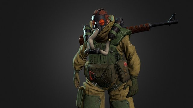 Soldier from the Asylum (walk cycle) 3D Model