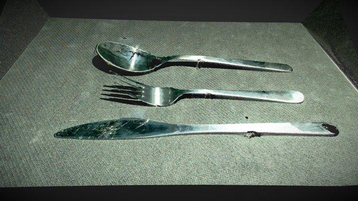 Shiny cutlery (fork, knife & spoon) 3D Model