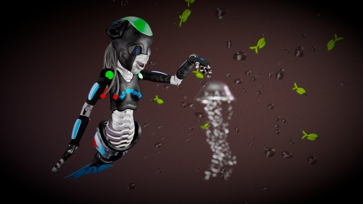 Robot mermaid A2-M4pl3 3D Model