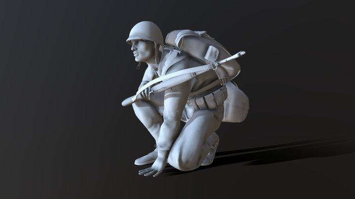 US Soldier WW2 3D Model