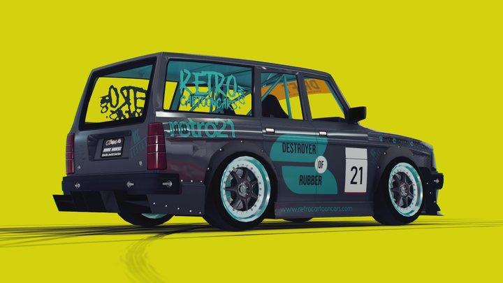 Huxley's Volvo 245 - Cartoon Drift Car 3D Model
