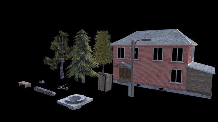 Village environment (Mobile-ready) 3D Model
