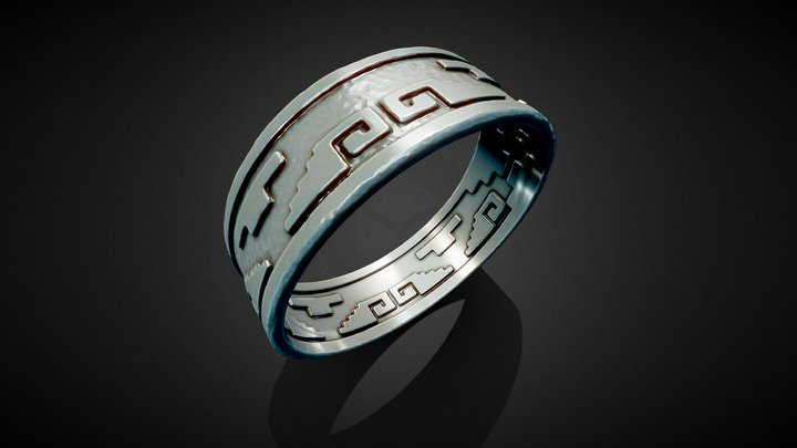 3D Aztec Ring 3D Model