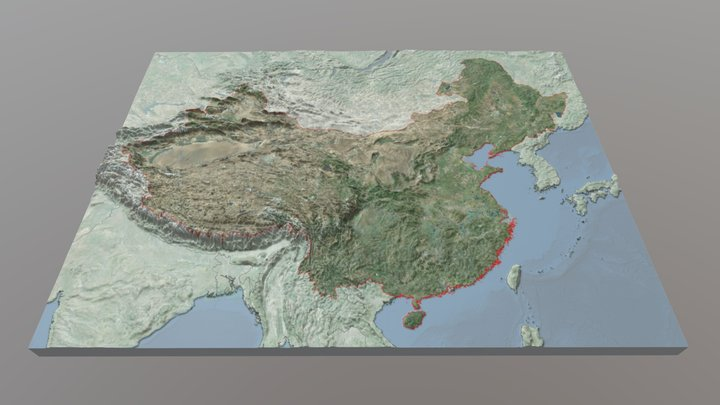 China Relief Map - 15x20: V2 3D Model