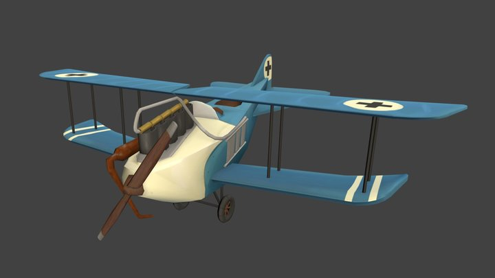 Flying Circus Airplane - Game Art 1 - Jens Lelie 3D Model