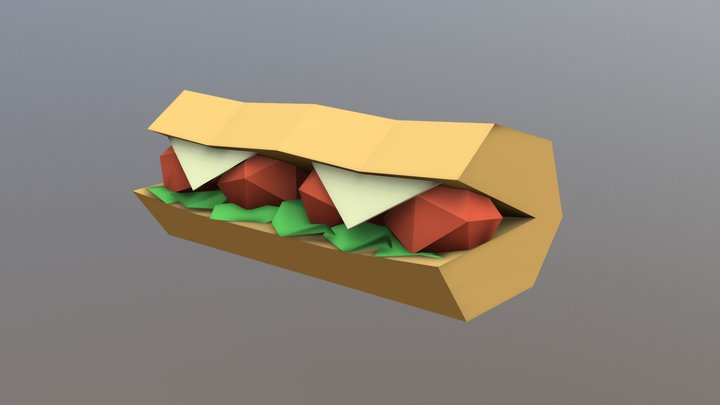 Meatball Sub - Household Props Challenge 3D Model