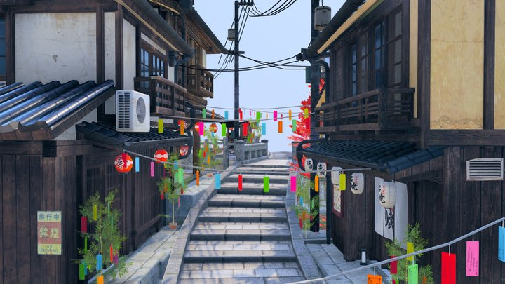 Tanabata evening - Kyoto inspired city scene 3D Model