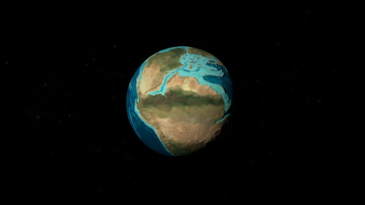 Earth paleogeographic timelapse 3D Model
