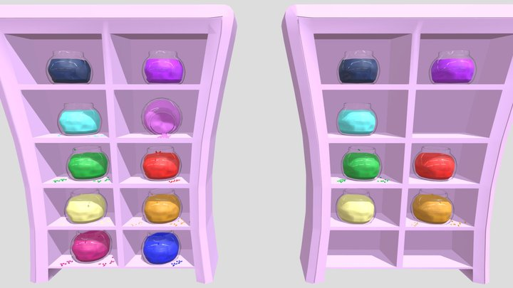 Shelves With Candy Jars 3D Model