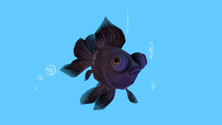 Black Moor Goldfish 3D Model