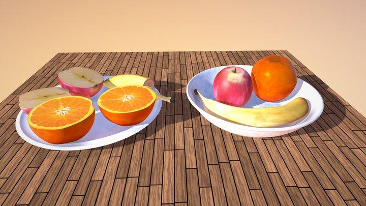 Realistic Banana Orange Apple Bowl Plate 3D Model