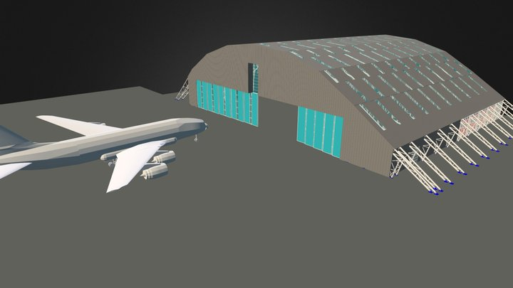 Hangar Structure In Aisport Of León (Spain) 3D Model