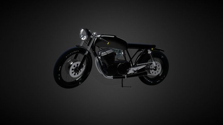 Cafe Race Brat Style Motorcycle 3D Model