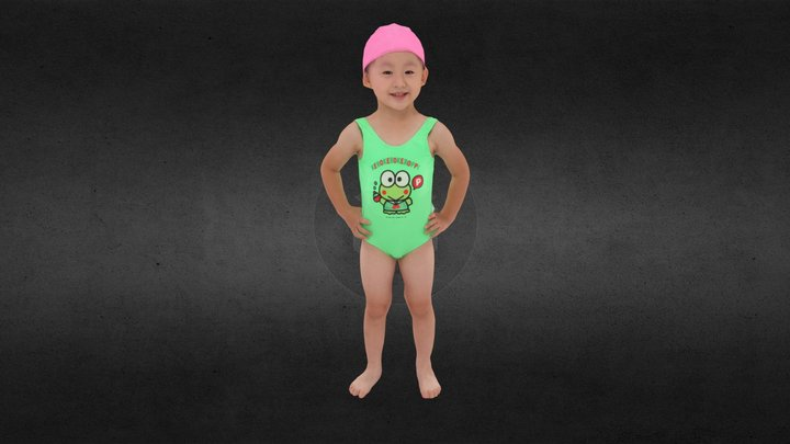 Little girl swimmer_817 3D Model
