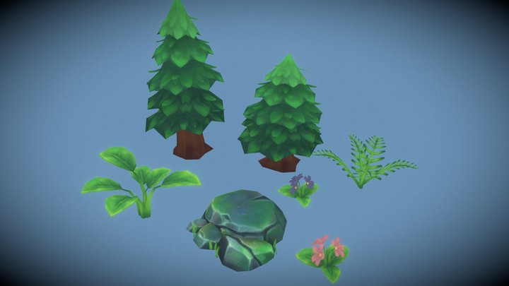 Free Low poly Handpainted Environment pack 3D Model