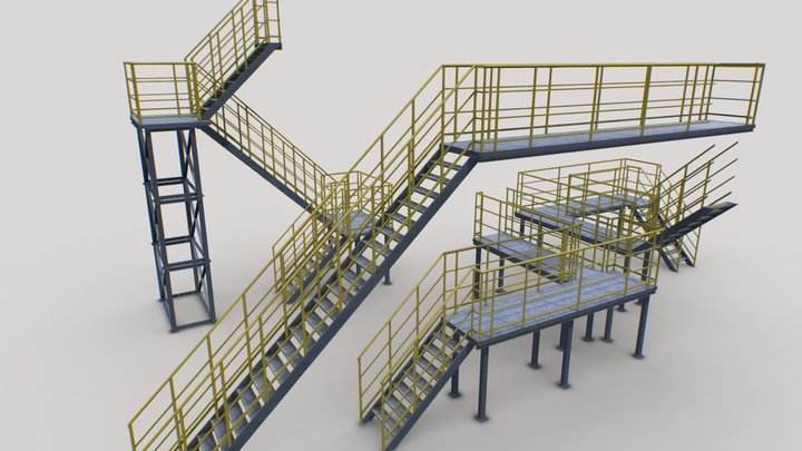 Industrial Stairs Modular 2 3D Model