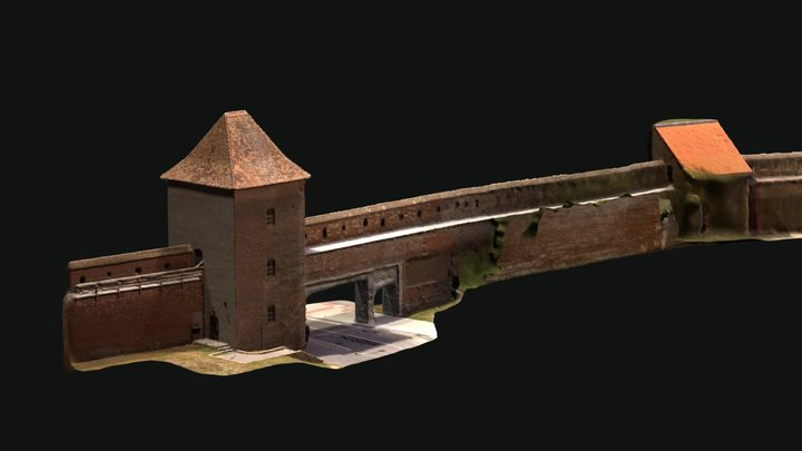 Bernolak gate and wall towers in Trnava city 3D Model