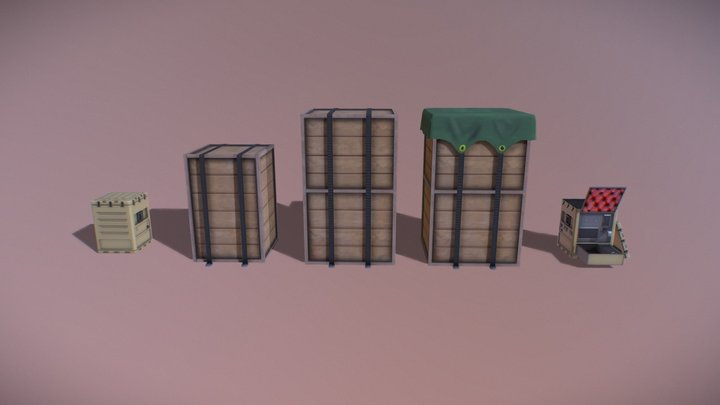 Cargo Crate Collection 3D Model