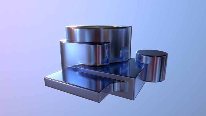 Hard Surface Combining Shapes 3D Model