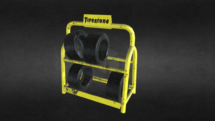 Retro Tyre and Rack 3D Model