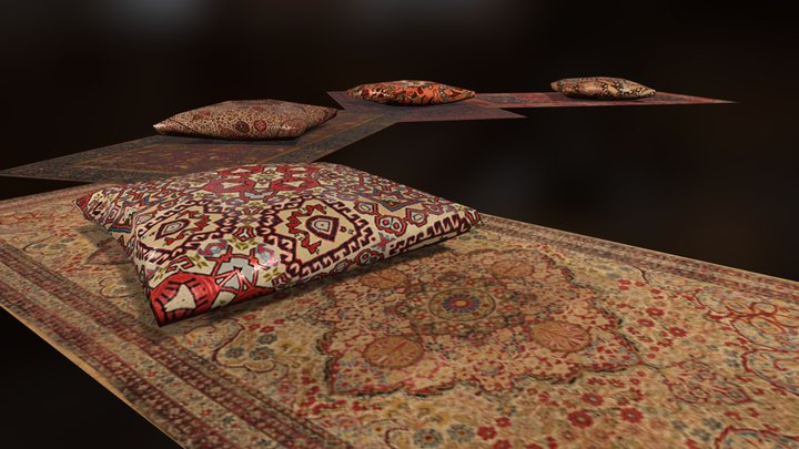 Ottoman Pillow and Carpets 3D Model