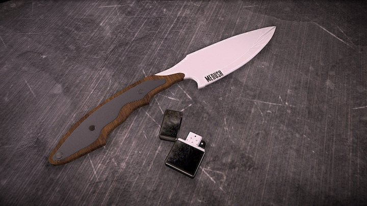 A Knife and a lighter 3D Model