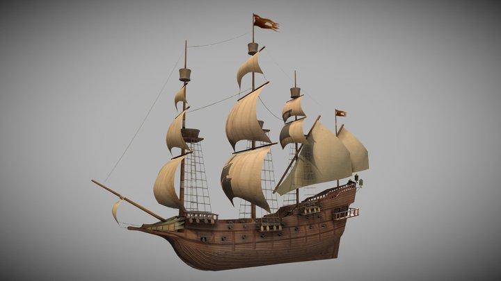 Galleon - 16th Century ship 3D Model
