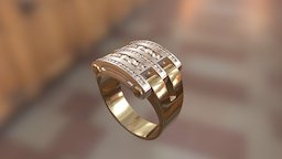 524 - Ring with moving middle parts 3D Model