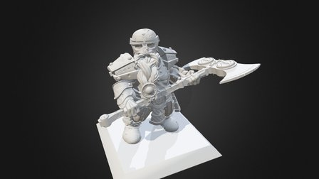 Dwarf miniature pose 2 armour 3 3D Model