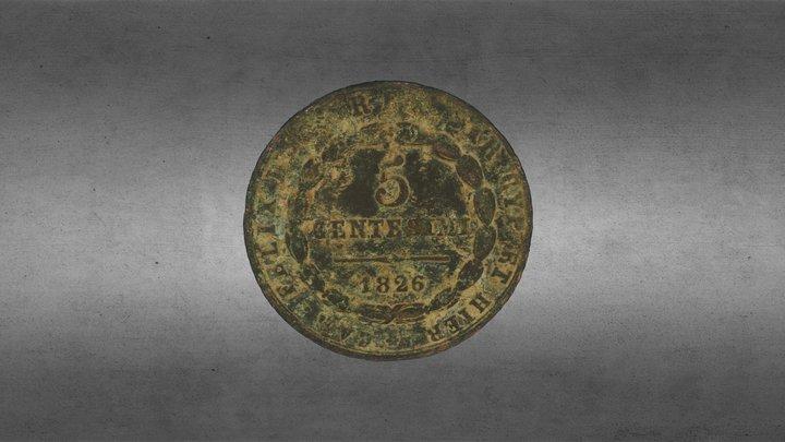 5 centesimi, old coin 3D Model