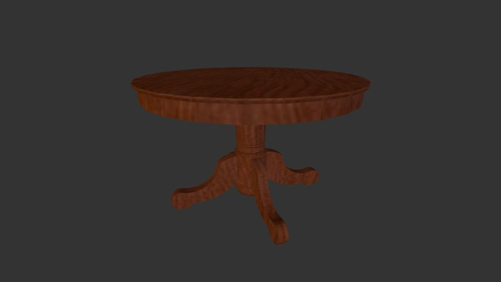 Kitchen Wood Round Table 3D Model