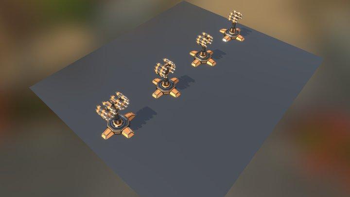 SciFi Turrets Set 4 3D Model