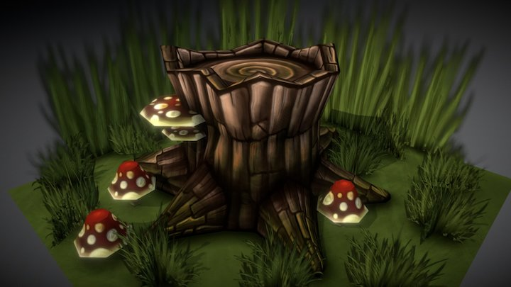 Hand Painted Tree Stump Scene 3D Model
