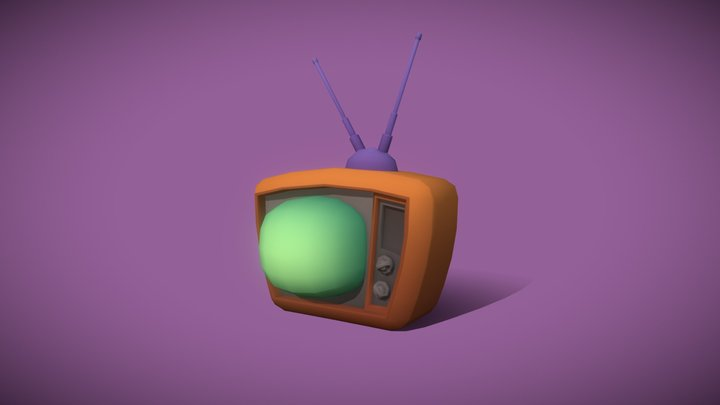 game ready low poly old tv cartoon style model 3D Model