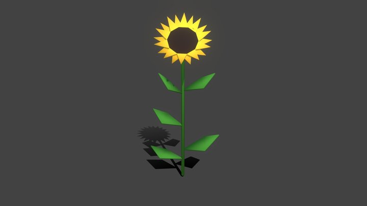 Sunflower low poly 3D Model