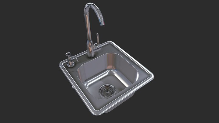 Sink w/Cold & Hot Water Faucet Item No.A-SS17 3D Model