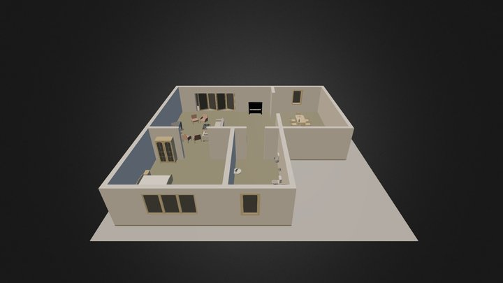 One level home interior 3D Model