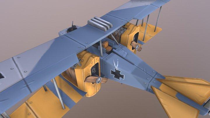 Stylized Lowpoly Gotha GIV plane 3D Model