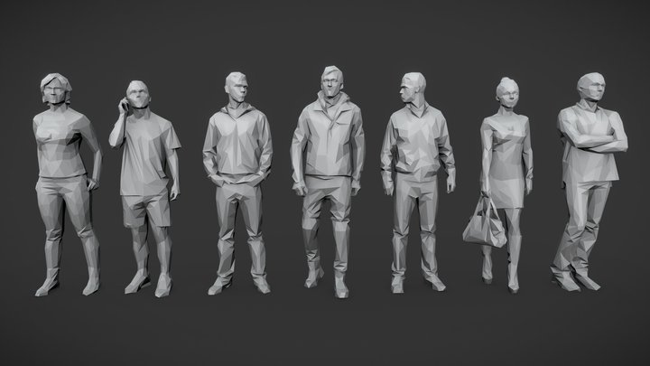 Lowpoly People Casual Pack Vol.1 3D Model