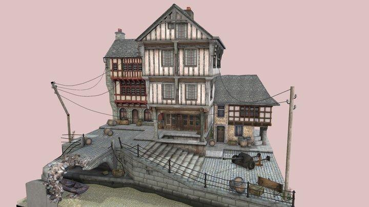 WW2 Cityscene, Dinan 3D Model