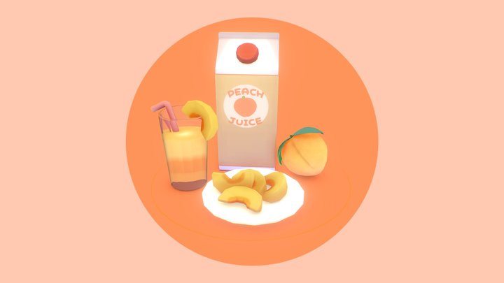 Low Poly Peach Drink 3D Model