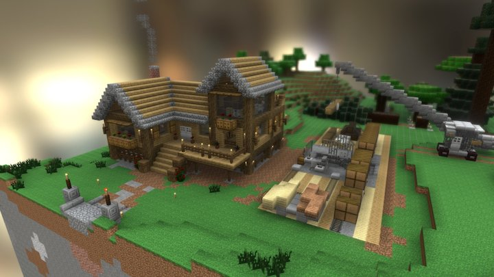 Minecraft Wood Shop & Mill 3D Model