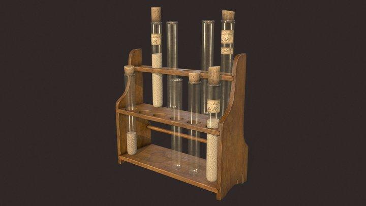 Antique Test Tube Rack 3D Model
