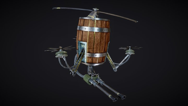 Barrel Turret 3D Model