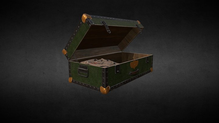 Old suitcase and cloth 3D Model